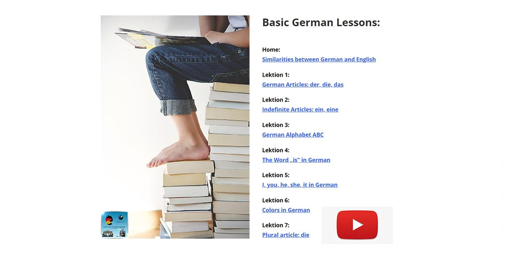 German lessons for beginners - Index